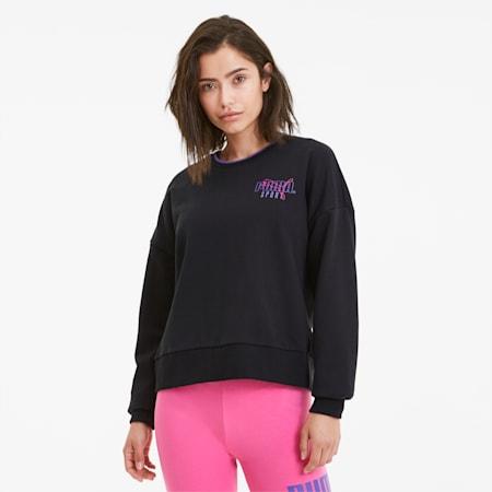 Sudadera con cuello redondo PUMA Sport para mujer, Cotton Black, pequeño