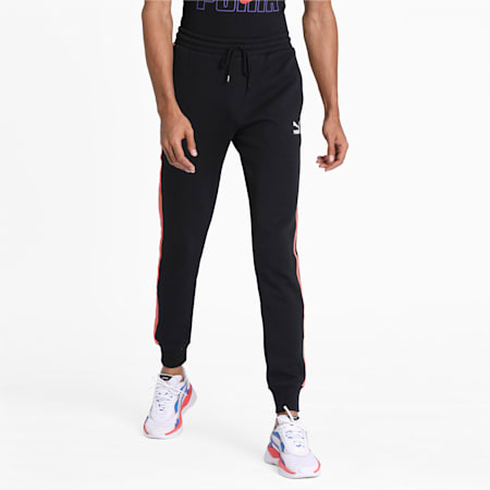 Knitted Men's Track Pants, Cotton Black, small-IND