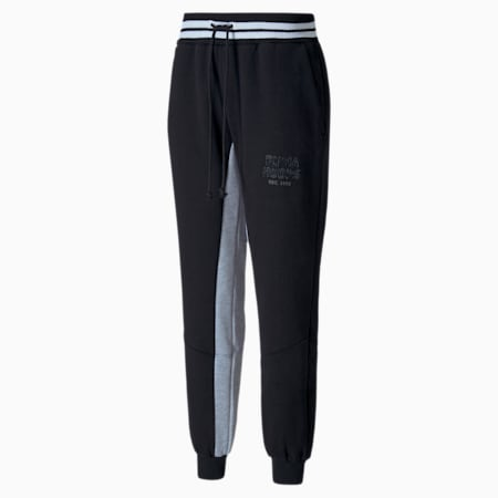 Press Knitted Fleece Men's Sweatpants, Puma Black-LGH, small-SEA