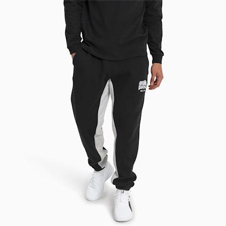 Press Knitted Fleece Men's Sweatpants, Puma Black-LGH, small
