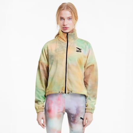 Evide AOP Damen Trainingsjacke aus Fleece, Puma White, small