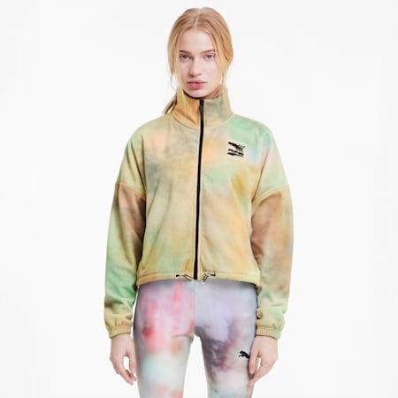 Evide Printed Fleece Women's Track Jacket, Puma White, small