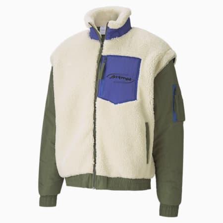 PUMA x ATTEMPT Men's Sherpa Bomber Jacket, Olivine, small