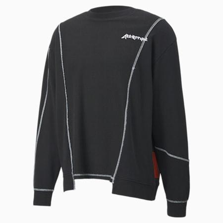 PUMA x ATTÈMPT Men's Deconstructed Crewneck Sweatshirt, Puma Black, small
