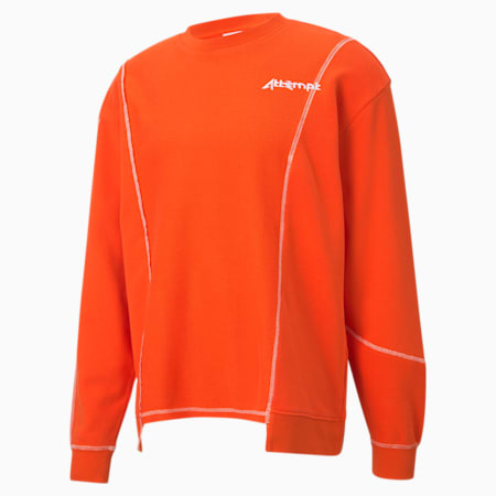 PUMA x ATTEMPT samengestelde sweater met ronde hals voor heren, Cherry Tomato, small