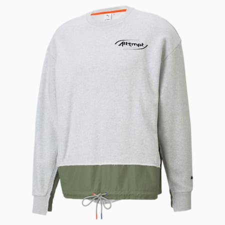 Sudadera para hombre PUMA x ATTEMPT Crew Neck, Light Gray Heather, small