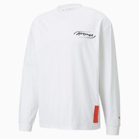 T-shirt PUMA x ATTEMPT a maniche lunghe da uomo, Puma White, small