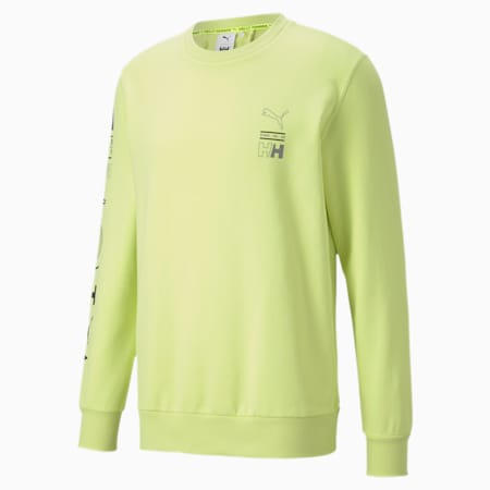 PUMA x HELLY HANSEN Crew Neck Sweater, Sunny Lime, small-SEA