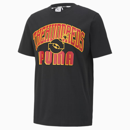 PUMA x THE HUNDREDS Men's Crew Neck T-Shirt, Puma Black-Red, small-IND
