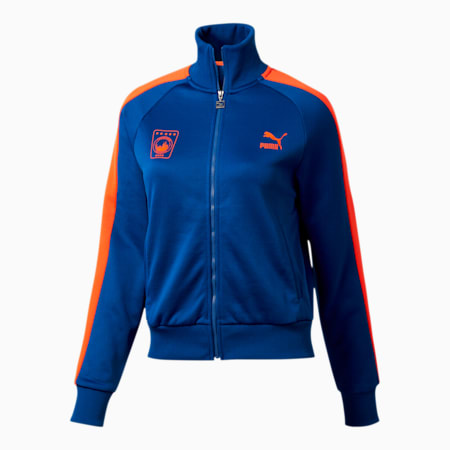 NYC Women's T7 Track Jacket, Surf The Web-RED ORANGE, small