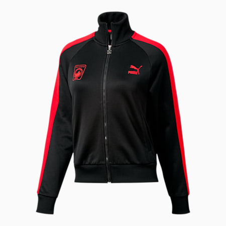 NYC Women's T7 Track Jacket, Puma Black-High Risk Red, small