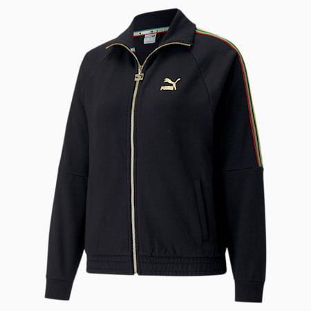 TFS Women's Track Jacket, Puma Black-gold, small