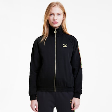 TFS Women's Relaxed Fit Track Jacket, Puma Black-gold, small-IND