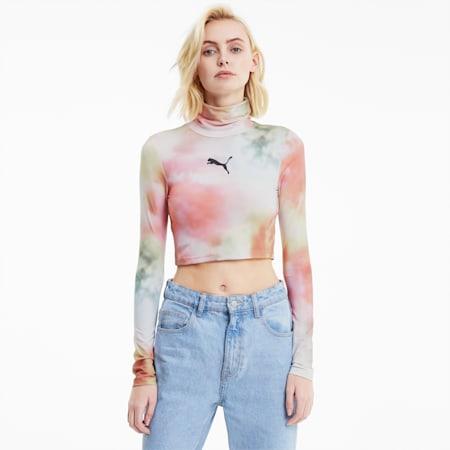 T-Shirt à manches longues Evide Allover-Print pour femme, Puma White, small