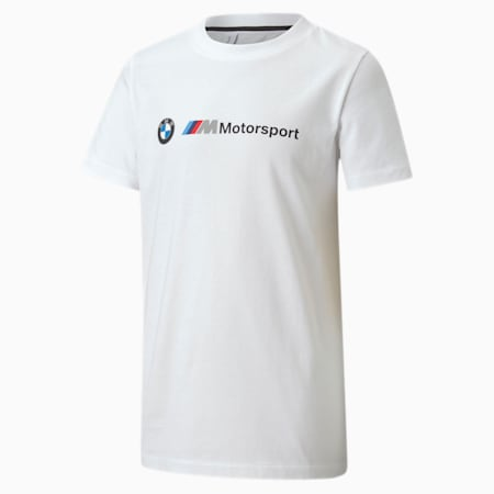 BMW M Motorsport Logo Youth T-Shirt, Puma White, small