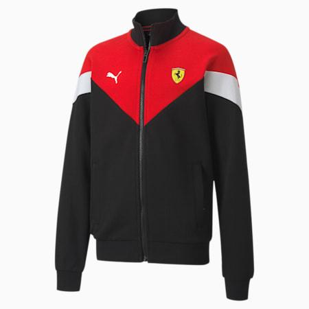 Ferrari Race Kids MCS Sweat Jacket, Puma Black-Rosso Corsa, small-IND
