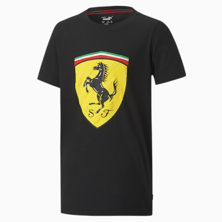 Scuderia Ferrari Race Big Shield Youth Tee, Puma Black, small