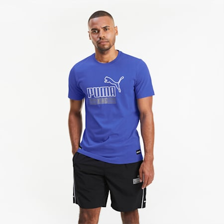 KING T-shirt voor heren, Dazzling Blue, small