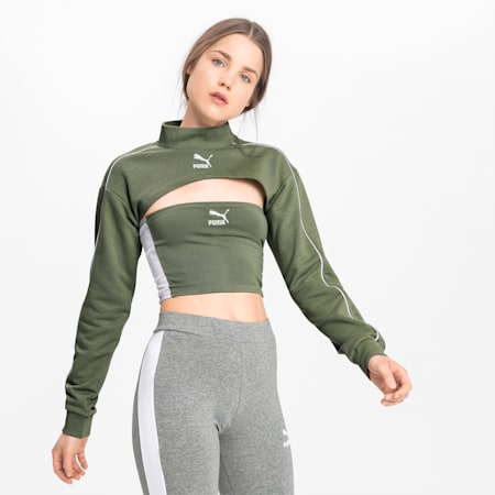 Long Sleeve Cover Up Women's Crop Top, Oil Green, small