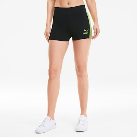 Classics Women's Micro Shorts, Cotton Black-Sunny Lime, small