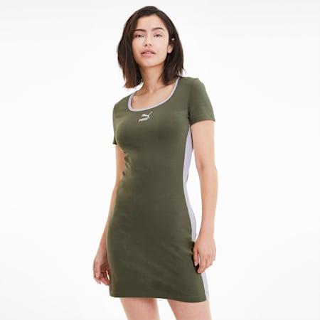 Classics Short Sleeve Women's Dress, Deep Lichen Green, small-SEA