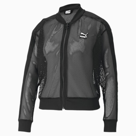 Classics Mesh Women's Bomber Jacket, Puma Black, small-SEA