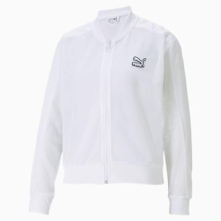 CLASSICS ウィメンズ メッシュ ボンバージャケット, Puma White, small-JPN