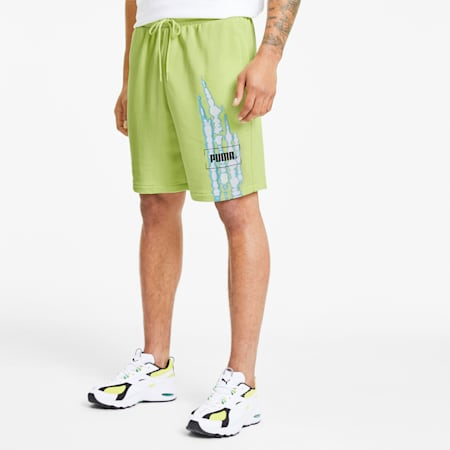 Tie Dye Men's Graphic Shorts, Sunny Lime, small