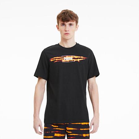タイダイ グラフィックTシャツ 半袖, Cotton Black-Orange, small-JPN