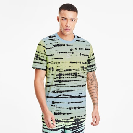 T-Shirt Tie Dye Allover Print pour homme, Aquamarine-AOP, small