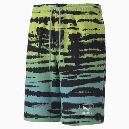 Shorts Tie Dye All-Over Printed Knitted para hombre, Aquamarine-AOP, small