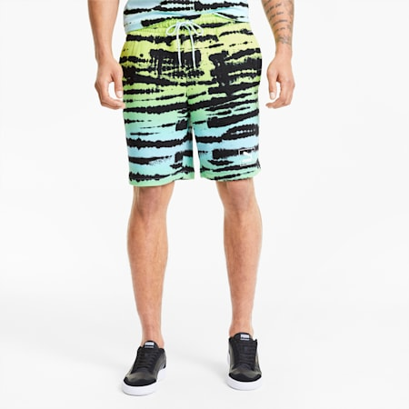 Tie Dye All-Over Printed Knitted Men's Shorts, Aquamarine-AOP, small-GBR