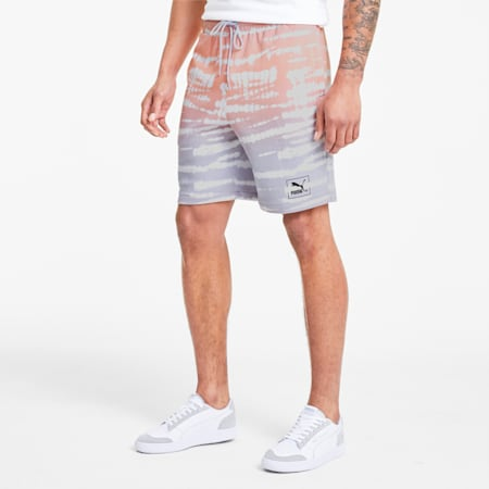 Tie Dye All-Over Printed Knitted Men's Shorts, Purple Heather-AOP, small