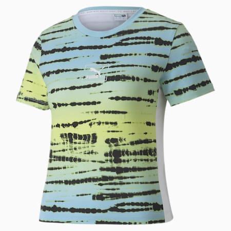 タイダイ AOP WS Tシャツ 半袖 ウィメンズ, Aquamarine-AOP, small-JPN