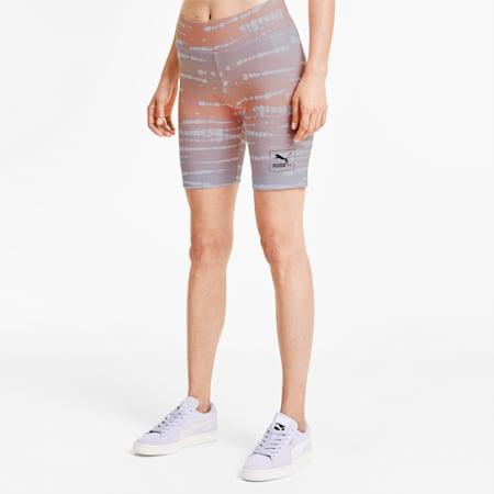 Pantaloni aderenti Tie Dye corti donna con stampa su tutta la superficie, Purple Heather-Stampa su tutta la superficie, small