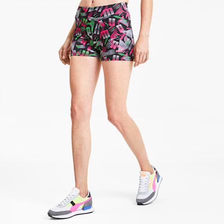 Micro shorts PUMA Sport donna con stampa su tutta la superficie, Cotton Black-AOP-Purple, small