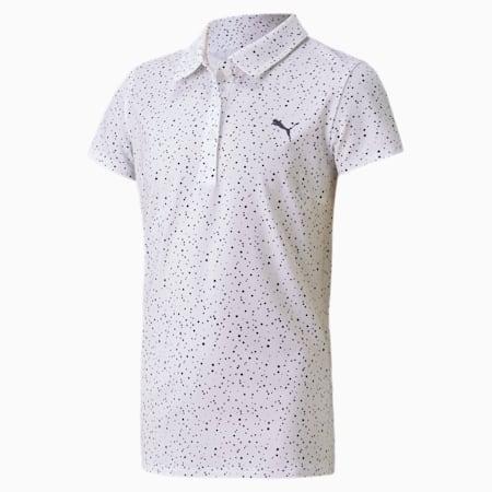 Polka Dot Girls' Golf Polo, Bright White-Peacoat, small