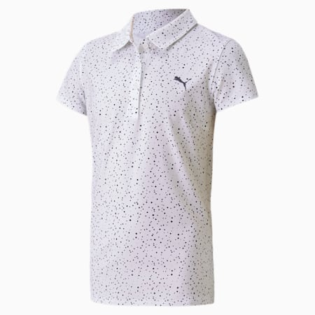 Polka Dot golfpolo voor meisjes, Bright White-Peacoat, small
