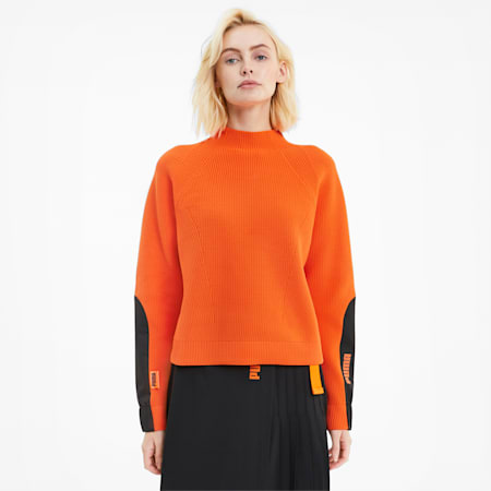 PUMA x CENTRAL ST MARTINS Chunky evoKNIT Damen Sweatshirt, Dragon Fire, small