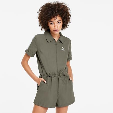 CLASSICS ウィメンズ ウーブン ジャンプスーツ, Deep Lichen Green, small-JPN