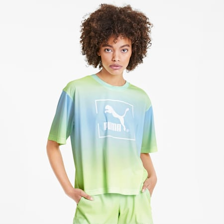 T-shirt Tie Dye Mesh donna, Aquamarine, small