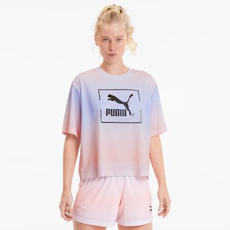 Tie Dye Mesh T-shirt voor dames, Purple Heather, small