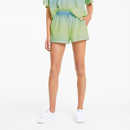 Shorts Tie Dye Mesh para mujer, Aquamarine, small