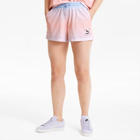 Tie Dye Mesh Damen Shorts, Purple Heather, small
