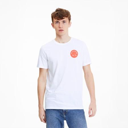 Streetwear Men's Graphic Tee, Puma White-Smiley, small