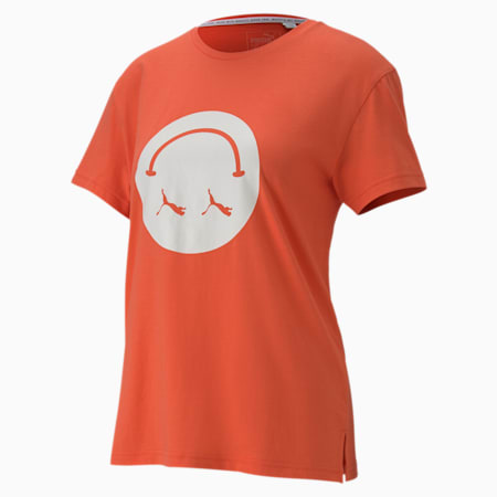 Women's Streetwear Graphic Tee, Hot Coral, small-SEA