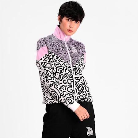 PUMA x MR DOODLE MCS Women's Jacket, Purple Rose-AOP, small-IND