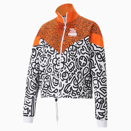 PUMA x MR DOODLE MCS Damen Jacke, Dragon Fire-AOP, small