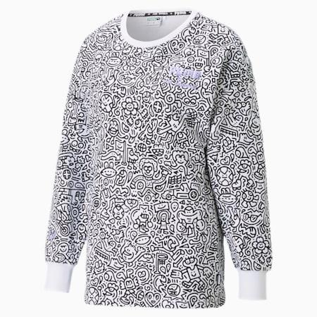 PUMA x MR DOODLE Women's AOP Crewneck Sweatshirt, Puma White-AOP, small