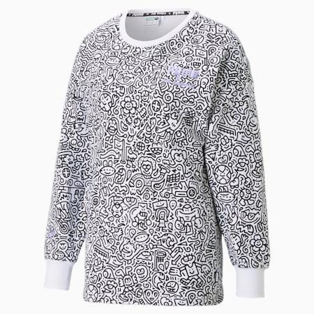 PUMA x MR DOODLE Printed Women's Crew Neck Sweater, Puma White-AOP, small-IND